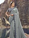image of Designer Grey Wedding Function Wear Embroidered Fancy Fabric Saree