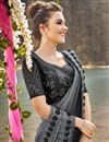 photo of Fancy Fabric Black Designer Wedding Function Wear Embroidered Saree