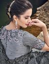 photo of Grey Designer Net Fabric Occasion Wear Embroidered Saree
