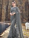 image of Grey Designer Net Fabric Occasion Wear Embroidered Saree
