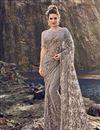 image of Occasion Wear Designer Net Fabric Embroidered Dark Beige Saree