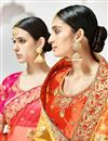 photo of Designer Function Wear Fancy Cream And Orange Color Embroidered Lehenga Style Saree
