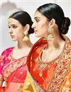 photo of Designer Function Wear Fancy Cream And Orange Color Embroidered Lehenga Style Saree
