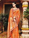 image of Wedding Function Wear Designer Orange Color Fancy Saree