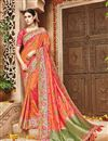 image of Fancy Function Wear Orange Color Designer Embroidered Saree