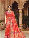 image of Designer Sangeet Wear Orange Color Fancy Embroidered Saree