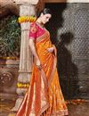 photo of Wedding Function Wear Designer Orange Color Fancy Saree