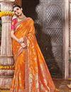 image of Wedding Function Wear Designer Orange Color Fancy Saree