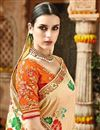 photo of Fancy Function Wear Cream Color Designer Embroidered Saree
