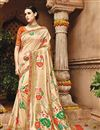 image of Fancy Function Wear Cream Color Designer Embroidered Saree