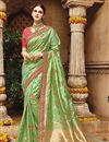 image of Designer Sangeet Wear Green Color Fancy Embroidered Saree