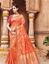 image of Wedding Wear Fancy Orange Color Embroidered Saree