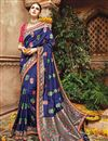 image of Wedding Function Wear Fancy Blue Color Embroidered Saree