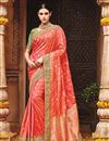 image of Fancy Function Wear Pink Color Designer Embroidered Saree
