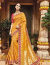 image of Designer Sangeet Wear Yellow Color Fancy Embroidered Saree