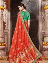 photo of Wedding Function Wear Fancy Orange Color Embroidered Saree