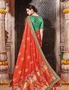 photo of Designer Reception Wear Orange Color Embellished Fancy Saree