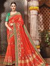 image of Wedding Function Wear Fancy Orange Color Embroidered Saree