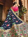 photo of Fancy Function Wear Blue Color Designer Embroidered Saree