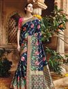 image of Fancy Function Wear Blue Color Designer Embroidered Saree