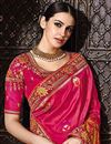 photo of Fancy Function Wear Rani Color Designer Embroidered Saree