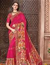 image of Fancy Function Wear Rani Color Designer Embroidered Saree