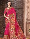 image of Party Wear Rani Color Fancy Designer Embellished Saree