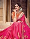 photo of Traditional Silk And Jacquard Fabric Designer Pink Color Fancy Wedding Function Wear Saree
