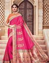 image of Traditional Silk And Jacquard Fabric Designer Pink Color Fancy Wedding Function Wear Saree