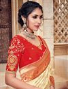 photo of Traditional Silk And Jacquard Fabric Designer Cream Color Fancy Wedding Function Wear Saree