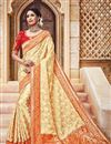 image of Traditional Silk And Jacquard Fabric Designer Cream Color Fancy Wedding Function Wear Saree