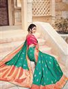 photo of Wedding Function Wear Teal Color Silk And Jacquard Fabric Traditional Designer Saree