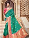 image of Wedding Function Wear Teal Color Silk And Jacquard Fabric Traditional Designer Saree