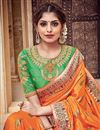 photo of Traditional Silk And Jacquard Fabric Fancy Orange Color Wedding Function Wear Designer Saree