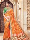 image of Traditional Silk And Jacquard Fabric Fancy Orange Color Wedding Function Wear Designer Saree