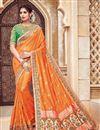 image of Wedding Function Wear Orange Color Silk And Jacquard Fabric Traditional Designer Saree