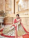 photo of Sangeet Wear Cream Color Silk And Jacquard Fabric Designer Traditional Fancy Saree