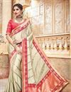 image of Designer Fancy Cream Color Traditional Silk And Jacquard Fabric Function Wear Saree