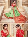 photo of Traditional Silk And Jacquard Fabric Designer Green Color Fancy Wedding Function Wear Saree