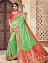 image of Traditional Silk And Jacquard Fabric Designer Green Color Fancy Wedding Function Wear Saree