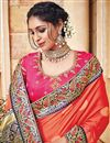 photo of Traditional Silk And Jacquard Fabric Designer Orange Color Fancy Wedding Function Wear Saree