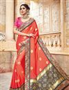 image of Designer Party Wear Orange Color Traditional Silk And Jacquard Fabric Fancy Saree