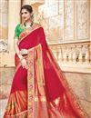 image of Designer Party Wear Red Color Traditional Silk And Jacquard Fabric Fancy Saree