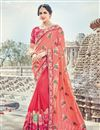 image of Wedding Special Art Silk Pink Designer Embroidery Work Saree With Blouse