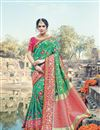 image of Wedding Special Embroidery Work Art Silk Designer Green Saree