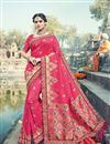 image of Art Silk Embroidery Work Fancy Designer Pink Saree