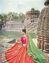 photo of Art Silk Sea Green And Orange Festive Wear Saree With Embroidery Work