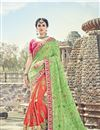 image of Art Silk Sea Green And Orange Festive Wear Saree With Embroidery Work