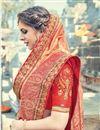 photo of Orange Designer Saree With Embroidery Work On Art Silk