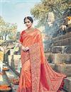 image of Orange Designer Saree With Embroidery Work On Art Silk